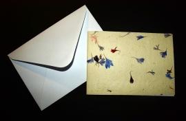 Kaart dubbel,  blauwe bloemblaadjes