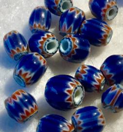 Glaskralen, langwerpig, chevron, klein, per set van 10 stuks
