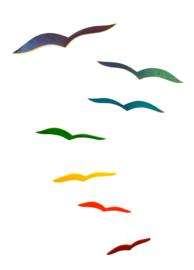 Mobile van hout, zeven meeuwen, multicolor