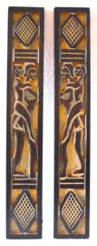 Set van 2 houten reliefs, 45 cm. West Afrika