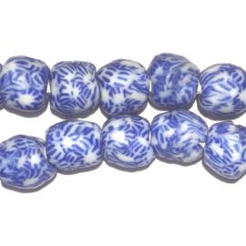 Glaskraal, rond, wit/blauw (3), doorsnede 0,9 cm. per set van 3