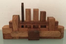 Bootje van hout, puzzel ,12 cm.