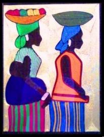 Naar de markt, draadschilderij, Ghana