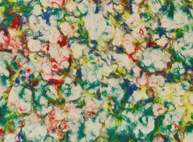 Handgeschept Lokta gemarmerd papier, groen-geel-rood, 78 x 50 cm.