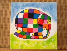 Schilderijtje Elmer de olifant