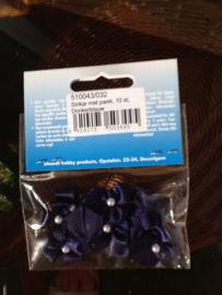 Strikjes, klein, 10 stuks, donkerblauw met pareltje