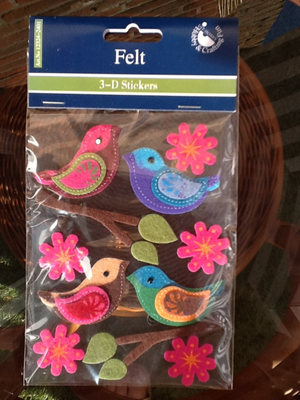 Viltstickers vogels en bloemen