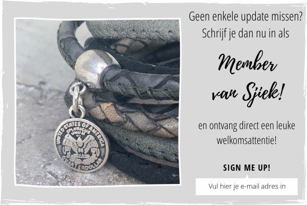 inschrijven member van sjiek, handmade by sjiek