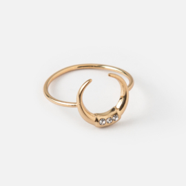 CRYSTAL DOUBLE TUSK RING
