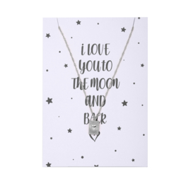 I LOVE YOU TO THE MOON POSTCARD + KETTING
