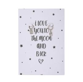 Love you to the moon postcard + oorbellen