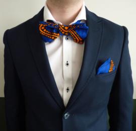 Blue - orange vlinderdas & pochet, Afrikaanse print