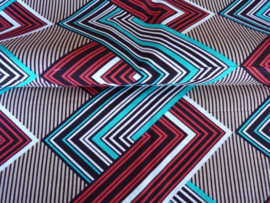 Red - Blue Zigzag, Afrikaanse stof