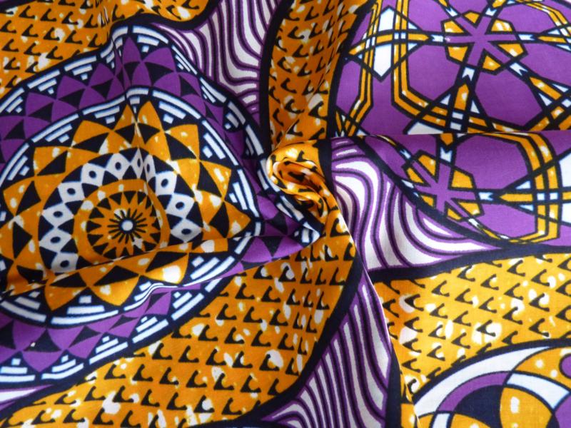Orange - Purple figures, Afrikaanse stof