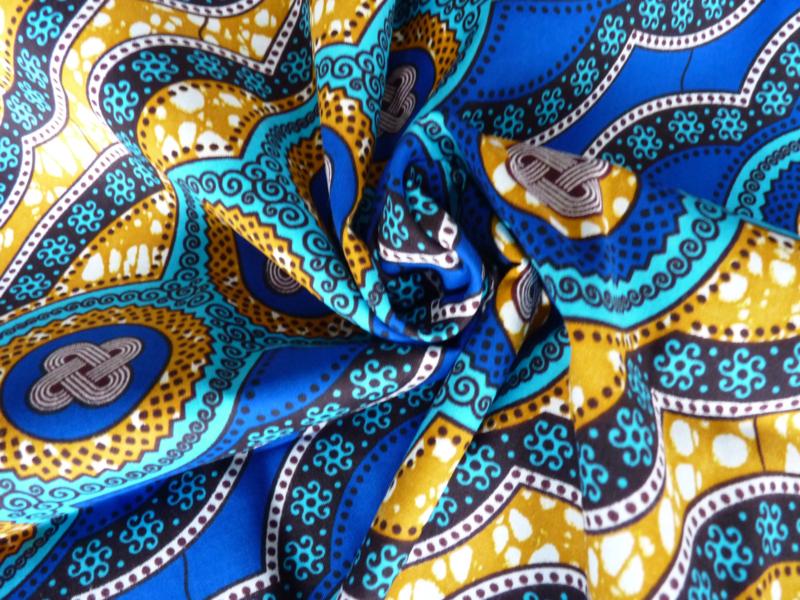 Blue diagonal figures, Afrikaanse stof