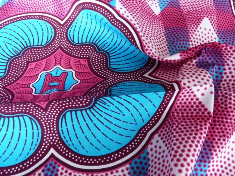 Blue - Pink Beauty, Afrikaanse stof
