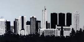 Rotterdam Skyline vanaf Rotterdam Airport