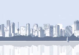 Rotterdam Skyline vanaf Kralingse Plas 1
