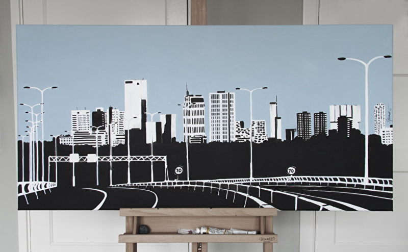 Nieuw schilderij van de skyline