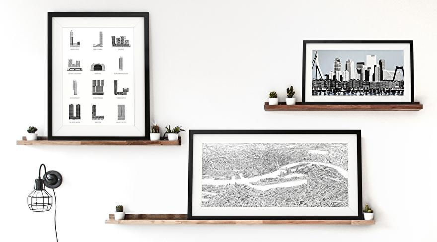 De mooiste art posters en kunst op canvas van de skyline van Rotterdam