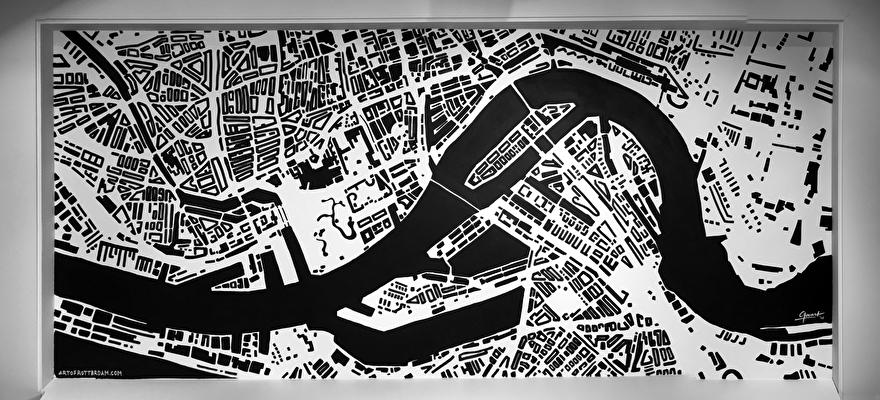 Muurschildering als winkel decoratie van plattegrond van Rotterdam