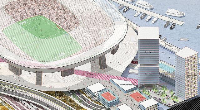 Nieuwe Kuip van boven ontwerp Rem Koolhaas Feyenoord City