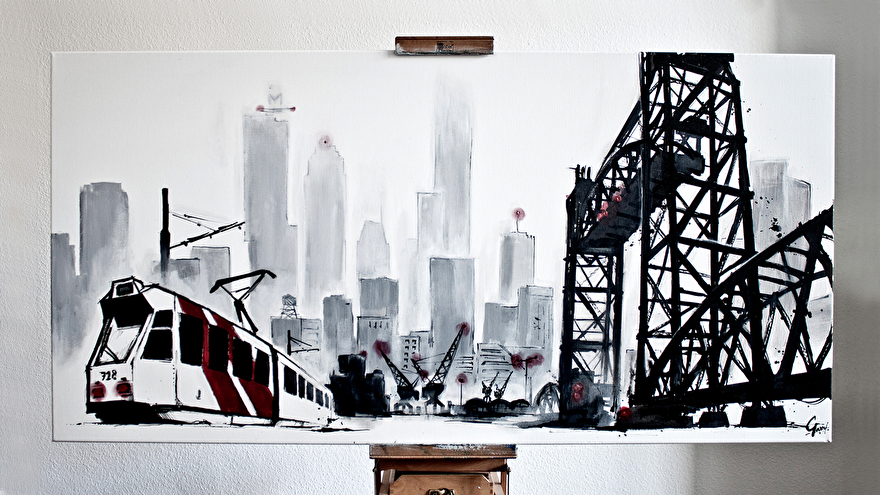 Zwart-wit schilderij kunst voor in huis van brug de Hef in Rotterdam