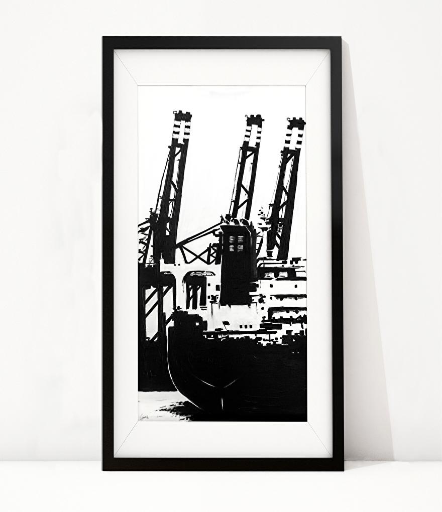 Zwart-wit schilderij op canvas van de Tweede Maasvlakte schip en terminals