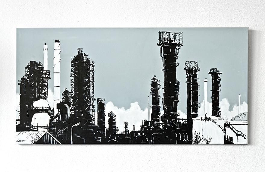 Zwart-wit schilderij voor op kantoor van ExxonMobil raffinaderij Rotterdam