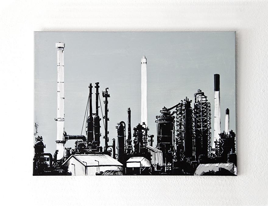 Zwart-wit kunst als relatiegeschenk van ExxonMobil raffinaderij Rotterdam