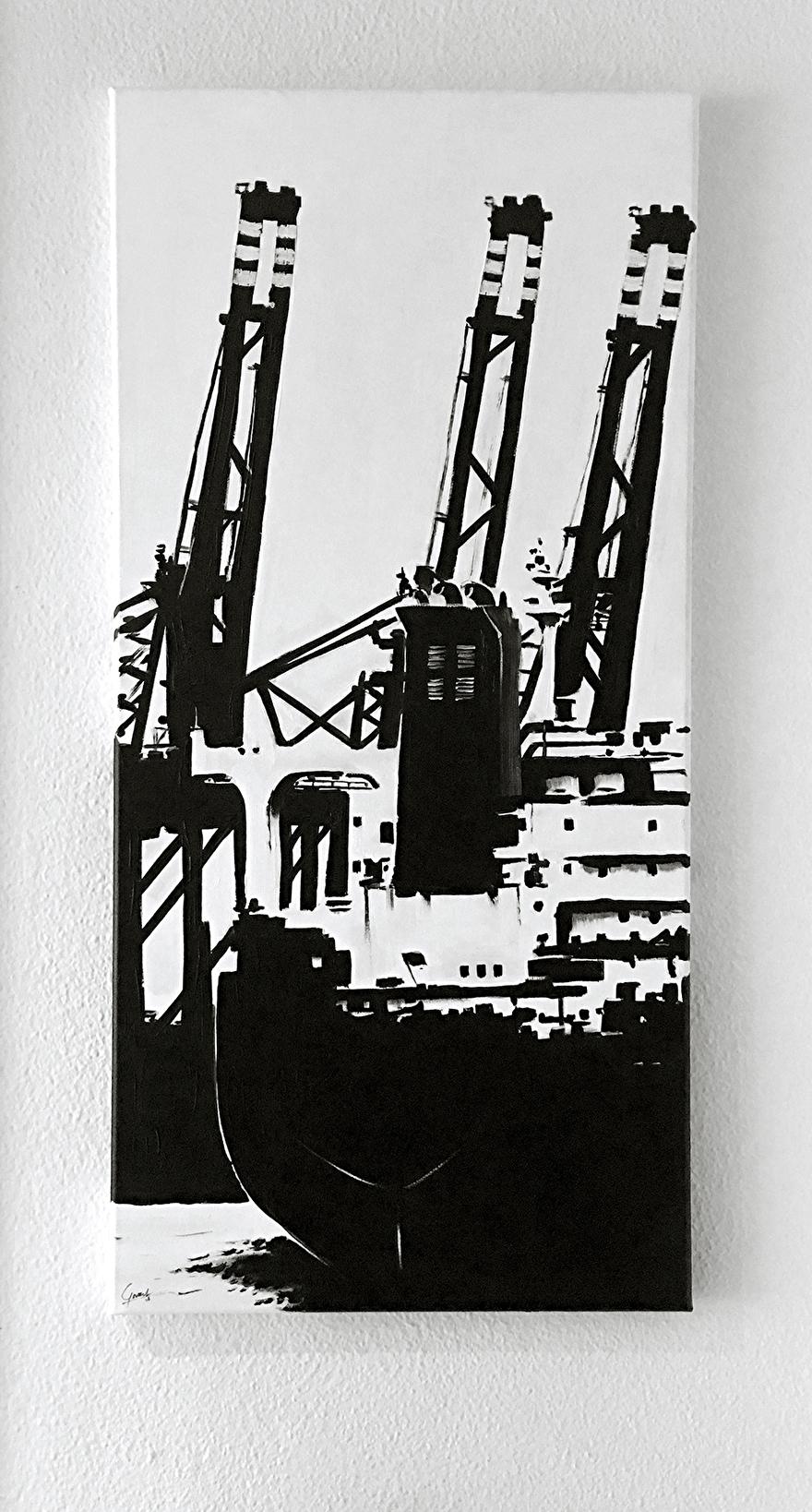 Zwart-wit schilderij als kantoor decoratie op canvas van de Tweede Maasvlakte schip en terminals