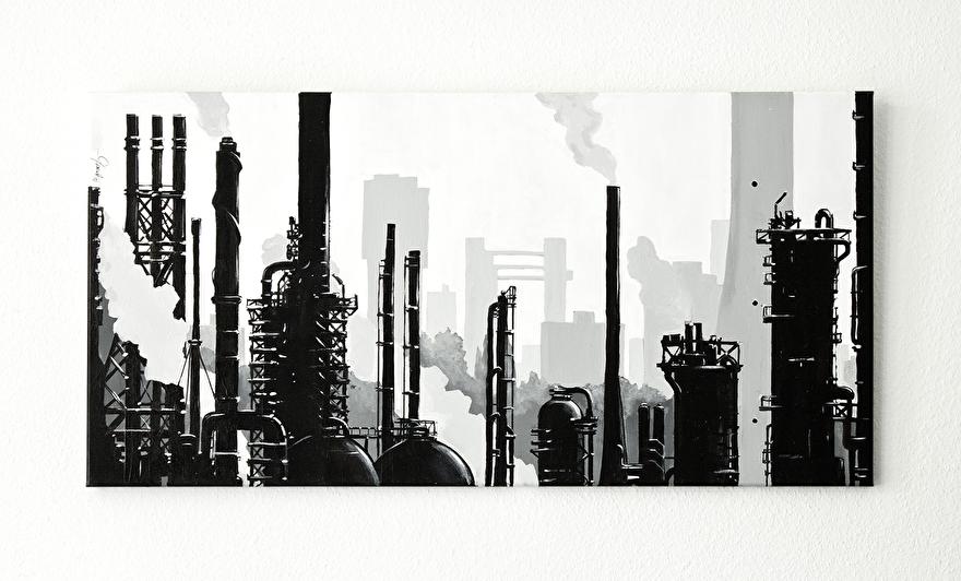 Zwart-wit schilderij als relatiegeschenk op canvas van Shell Pernis fabrieken