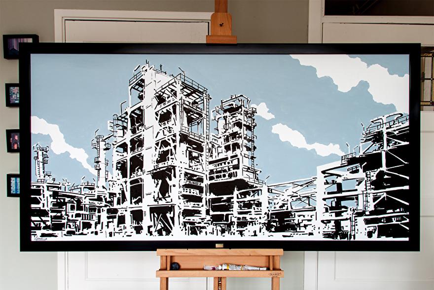 schilderij van haven Rotterdam online te koop