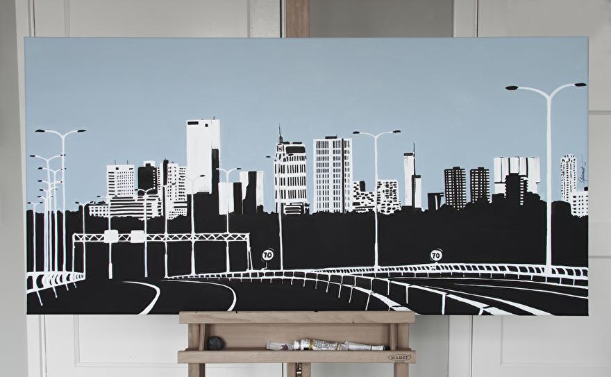 Zwart-wit schilderij van de skyline van Rotterdam
