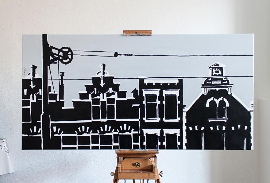 Schilderij op canvas voor op kantoor van Kralingen