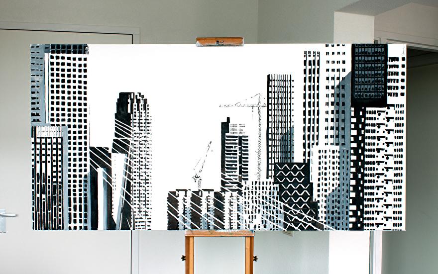 Zwart-wit schilderij voor op kantoor van Rotterdam