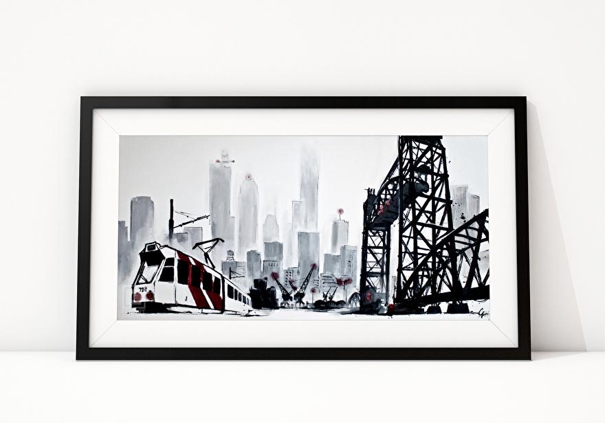 Zwart-wit schilderij van brug de Hef in Rotterdam