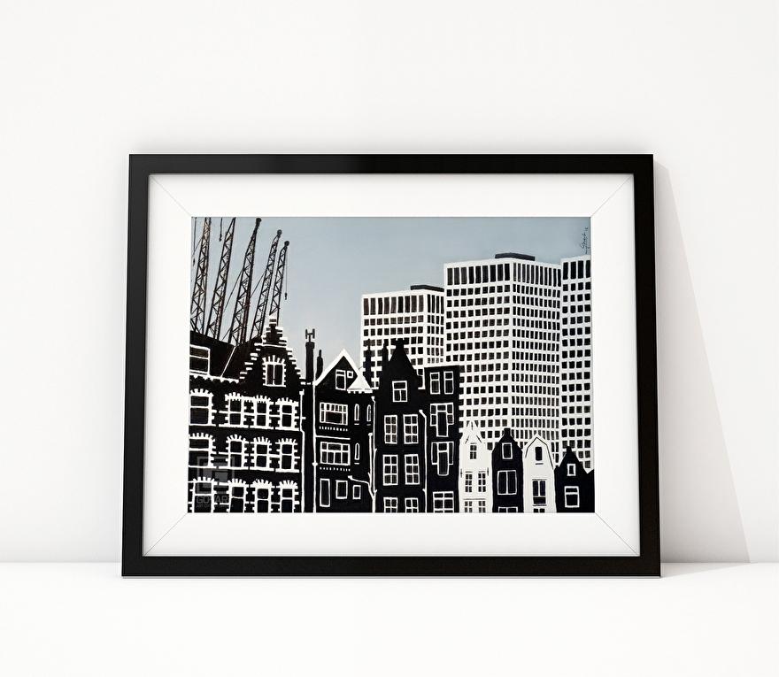 Zwart-wit schilderij van Delfshaven Rotterdam