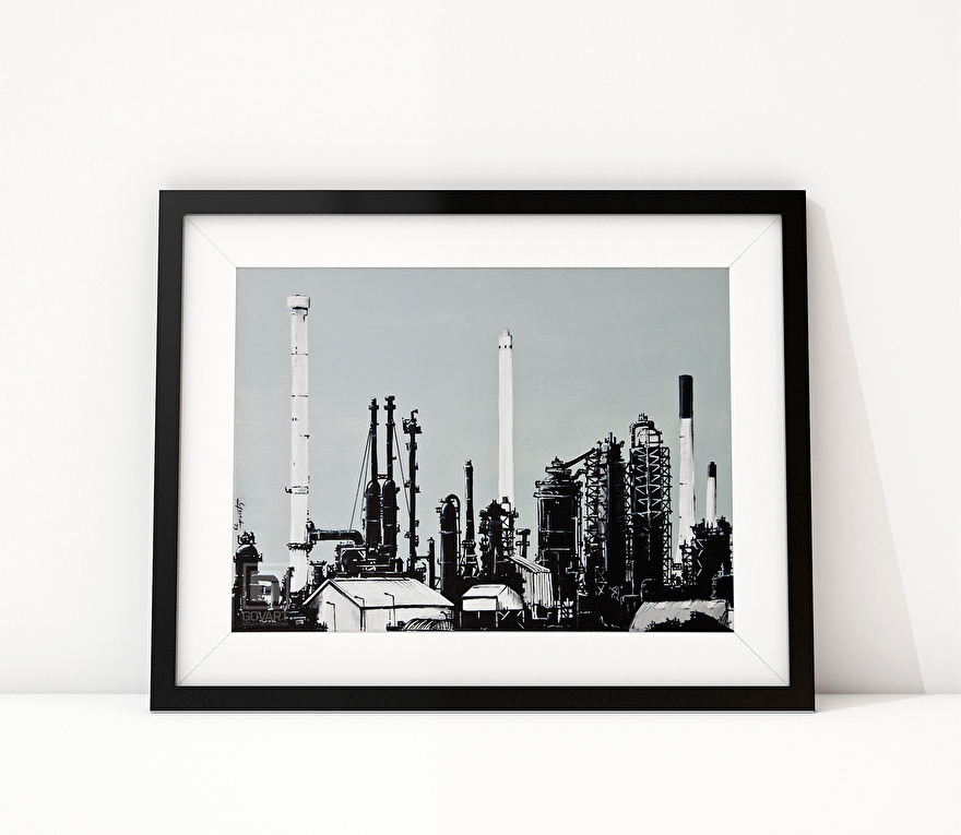 Zwart-wit schilderij van ExxonMobil raffinaderij Rotterdam