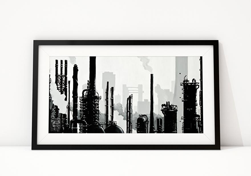 Zwart-wit schilderij op canvas van Shell Pernis fabrieken