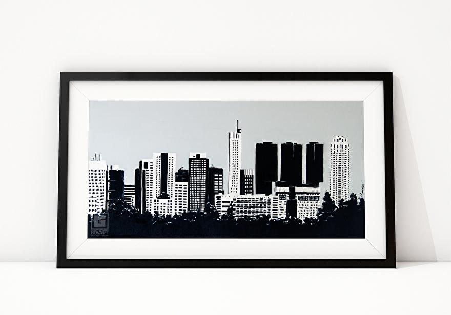 Zwart-wit schilderij op canvas van de skyline van Rotterdam vanaf Rotterdam Airport
