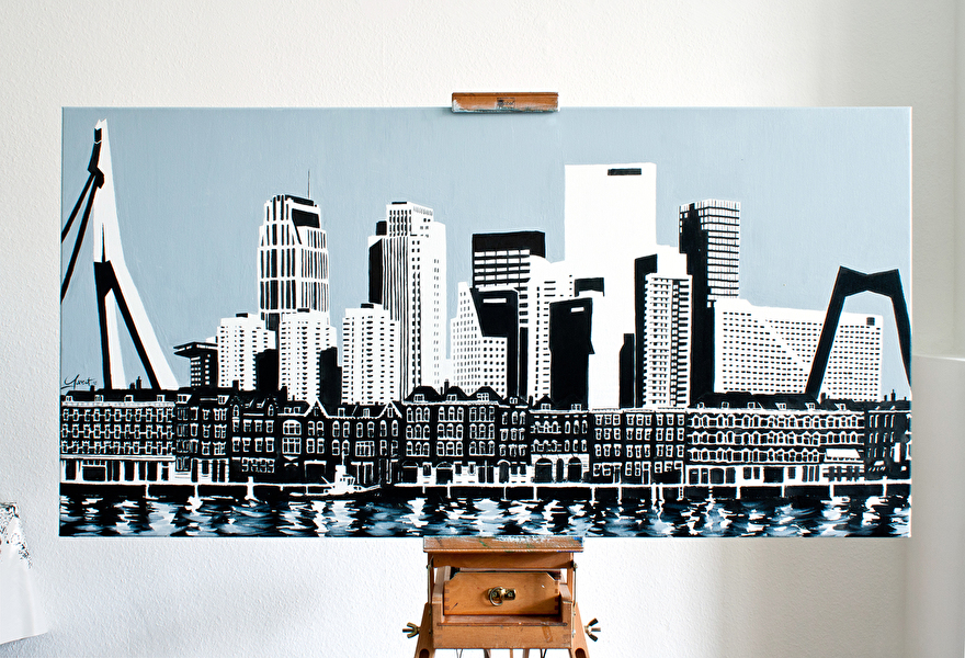 Schilderij kunst voor kantoor skyline van Rotterdam met Erasmusbrug en Willemsbrug