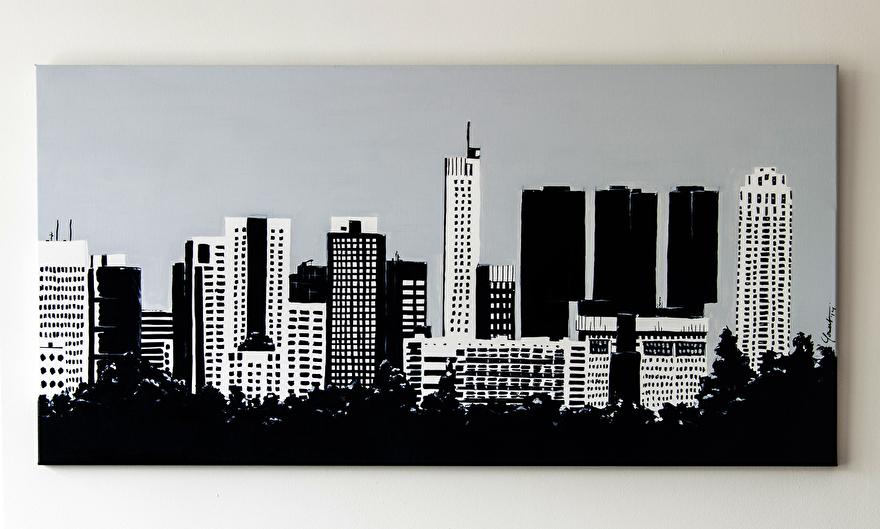 Zwart-wit kunst op maat op canvas van de skyline van Rotterdam vanaf Rotterdam Airport