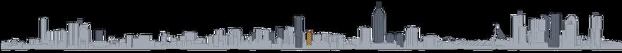 Tekening Toekomst van de skyline van Rotterdam: Glashaventoren