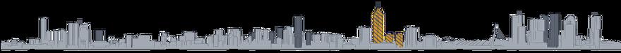 Tekening Toekomst van de skyline van Rotterdam: Zalmhaventoren