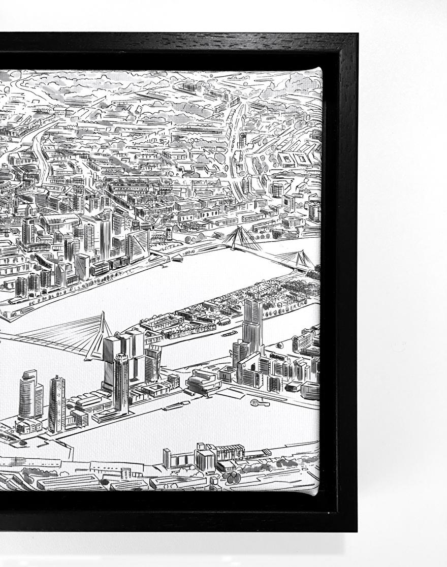 Skyline van Rotterdam op canvas geprint met lijst voor aan de muur