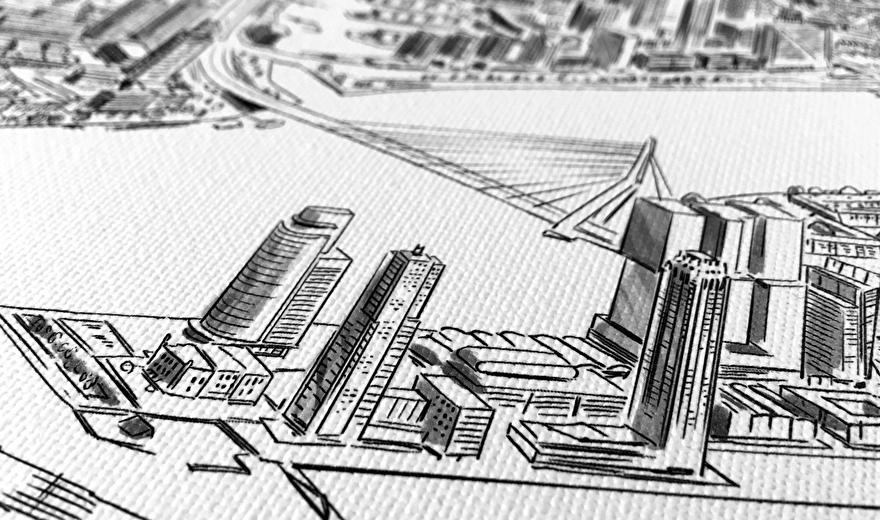 Skyline van Rotterdam op canvas geprint voor aan de muur
