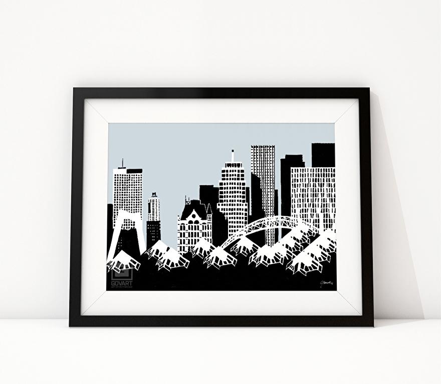 Zwart-wit tekening van Blaak, Witte Huis en Kubuswoningen Rotterdam