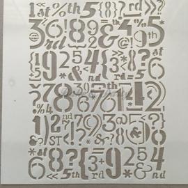 """Decoratie Stencil """"Cijfers + Leestekens"""""""