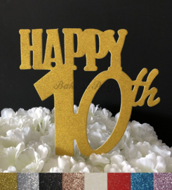 "Taart Topper Carton ""Happy 10th"""